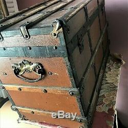 Antique French Fashion Huret Rohmer Wood Doll Trunk with Tray