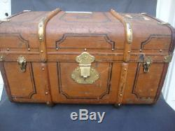 Antique German Steamer Trunk/Coffee Table Canvas Covered Wood Brass Leather Trim