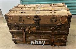 Antique HW ROUNTREE Flat Top Steamer Trunk Chest with Roll Back Tray & Label
