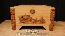 Antique Hand Carved Camphor Wood Chest Trunk Hong Kong Chinese 1920