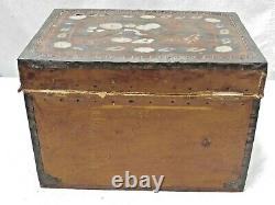 Antique Hand Painted Leather Camphor Wood Trunk Mexico / China Trade