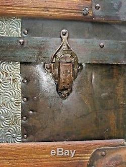 Antique Hump Camelback Steamer Trunk Dome Top Wood Chest Pressed Tin 1880's