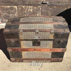 Antique Humpback Camelback Steamer Trunk Wood Pirate Treasure Chest 1800's