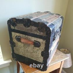 Antique Humpback Style Steamer Trunk Toy Treasure Chest Wood & Pressed Tin