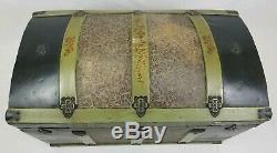 Antique Humpback Wood Trunk Storage Chest With Embossed Metal Victorian Vintage