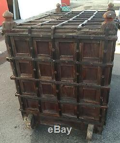 Antique Indian dowry chest or trunk wedding 6 secret compartments wood wheels