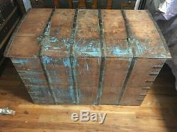 Antique Iron Bound Box Strong Box Bible Box, cest armada safe trunk chest wood