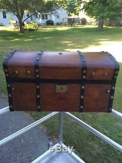 Antique Jenny Lind Stagecoach Trunk Steamer Trunk. Wood, Brass & Iron, Dome Top