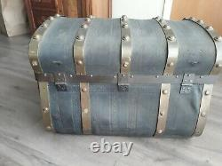 Antique Jenny Lind steamer trunk leather brass chest stagecoach 1800s rare