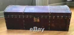 Antique Leather Covered Wood Hump Back Trunk Doll Or Childs 25 Long Brass