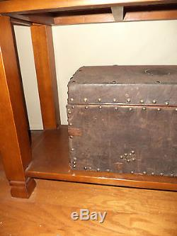 Antique Leather Wood Continental Travel hide Trunk Chest 19thc Lauren Style look