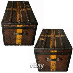 Antique Louis Vuitton Steamer Trunk Monogram Canvas with Inserts Early 20th C