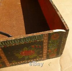 Antique Mexican Folk Art Lacquerware Hand-Painted Blanket/Wedding Chest Trunk 32