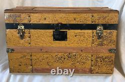 Antique Miniature Childs Camel Back Humpback TrunkTin Litho On Wood with Tray