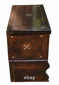 Antique Moroccan Wood Chest, Middle Eastern Trunk, Mother of Pearl Inlaid Box