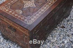 Antique Moroccan mother of pearl inlaid travel trunk c1800