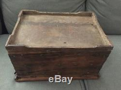 Antique Old Early Wood Brass Studded Treasure Chest Trunk Box Folk Art Jewelry