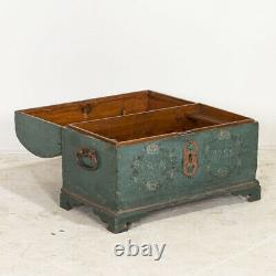 Antique Original Blue Painted Small Trunk dated 1788 from Sweden