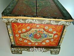 Antique Pennsylvania Dutch Hand Painted Wooden Blanket Chest Childs Trunk Sample