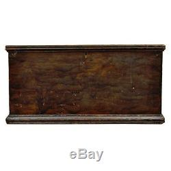 Antique Primitive Rustic Dovetailed Wood Painted Blanket Hope Trunk Chest Table
