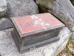 Antique Primitive Wood Chest Black & Red Paint Small Trunk Box Great Decor