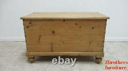 Antique Primitive yellow Pine Swedish Blanket Chest Trunk Exposed Dovetail
