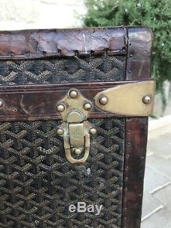 Antique Rare French Malles Goyard Steamer Trunk