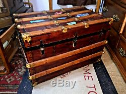 Antique Refurbished Flat Top Steamer Trunk 1860s Natural Wood (In/Out) Finish