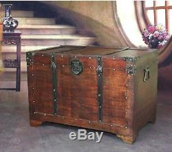 Antique Reproduction Wooden Storage Trunk