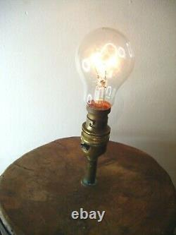 Antique Rustic Naive Carved African Tree Stump Trunk Table Lamp Base Elephant