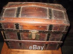 Antique Salesman Sample Child's Doll's Dome Top Trunk Wood Strap 16 x 14 x 10