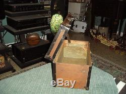 Antique Small WOOD METAL BOUND TREASURE CHEST Childs Doll Trunk With No Tray