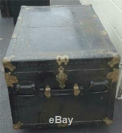 Antique Solid Wood Steamer Trunk NEEDS TLC FABULOUS OLD TRUNK WITH WHEELS