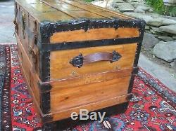 Antique Stagecoach Steamer Trunk Civil War Era 1800s Flat Top Chest Coffee Table