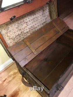Antique Steamer Trunk Chest Cabinet Small 24 X 14 X14