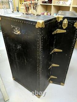 Antique Steamer Trunk Dome Top Vintage Traveling Wood/Metal With Original Insert
