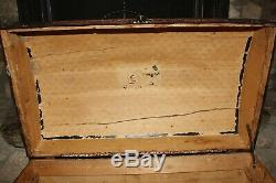 Antique Steamer Trunk Dome Top Wood / Pressed Tin with Wheels