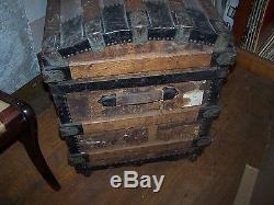 Antique Steamer Trunk-Dome Top-metal & wood bands-inside tray-circa 1890-1910
