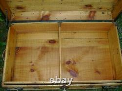 Antique Steamer Trunk Flat Top Chest With Tray/Key Barnard Bros Table Oak Slats