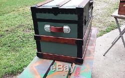 Antique Steamer Trunk Flat Top Victorian Wood Chest Stagecoach Flat C1800