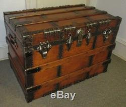 Antique Steamer Trunk Large High End Vintage Flat Top Chest Great Coffee Table