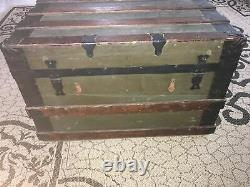 Antique Steamer Trunk Leather Metal Olive Old Wood With Original Lock Army Locker