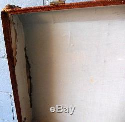 Antique Steamer Trunk Travel Luggage Suitcase Wood Trim Leather Straps