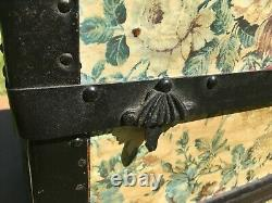 Antique Steamer Trunk Victorian Dome Top Wooden Chest Wheels Floral Paper Black