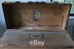 Antique Steamer Trunk Victorian Metal/Wood Dome, With Tray