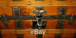 Antique Steamer Trunk Vintage Classic Victorian Dome Top Wooden Chest Tray&key