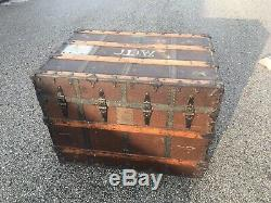 Antique Steamer Trunk Vintage Coffee Table Wood & Metal Treasure Chest CA Taylor