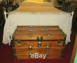 Antique Steamer Trunk Vintage Flat Top Chest Great Coffee Table Tray&key C1895