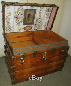 Antique Steamer Trunk Vintage Henry Likly Flat Top Wood Chest Tray & Key C189os
