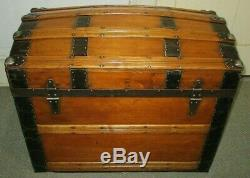 Antique Steamer Trunk Vintage Victorian Dome Top Wooden Brides Chest Tray&key